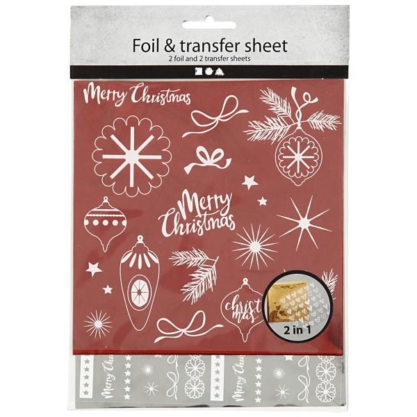 Set de papier transfert métallisé - Déco de Noël - 15 x 15 cm - 4 pcs - Photo n°2