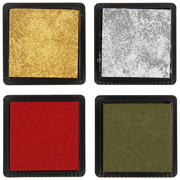 Assortiment de mini encreurs 4 x 4 cm - Couleurs de Noël - 4 pcs - Photo n°3
