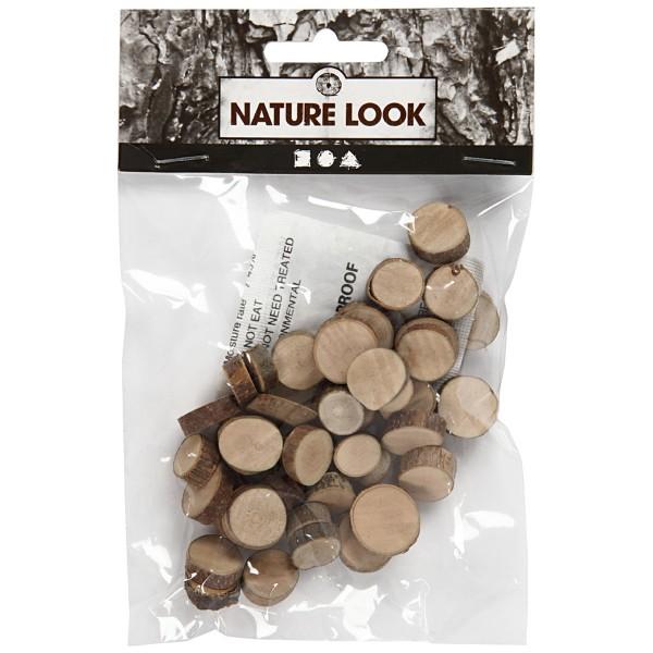 Mini rondelles de bois décoratives - 10 à 15 mm - 25 g - Photo n°2