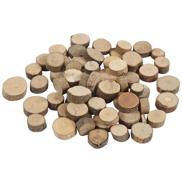 Mini rondelles de bois décoratives - 10 à 15 mm - 25 g - Photo n°3