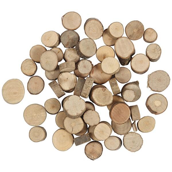 Mini rondelles de bois décoratives - 10 à 15 mm - 25 g - Photo n°1