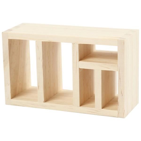 Meuble bibliothèque miniature en bois - 6 x 10 x 4 cm  - 1 pce - Photo n°1