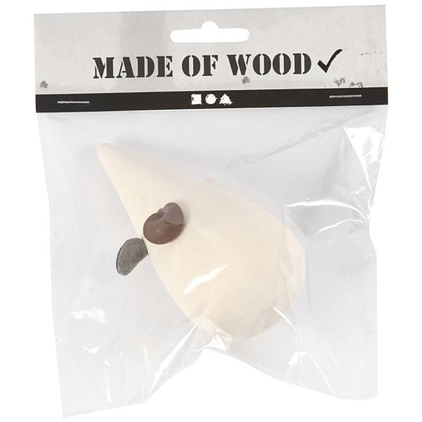 Souris en bois à décorer avec ses oreilles en cuir - 10 cm - 2 pcs - Photo n°3