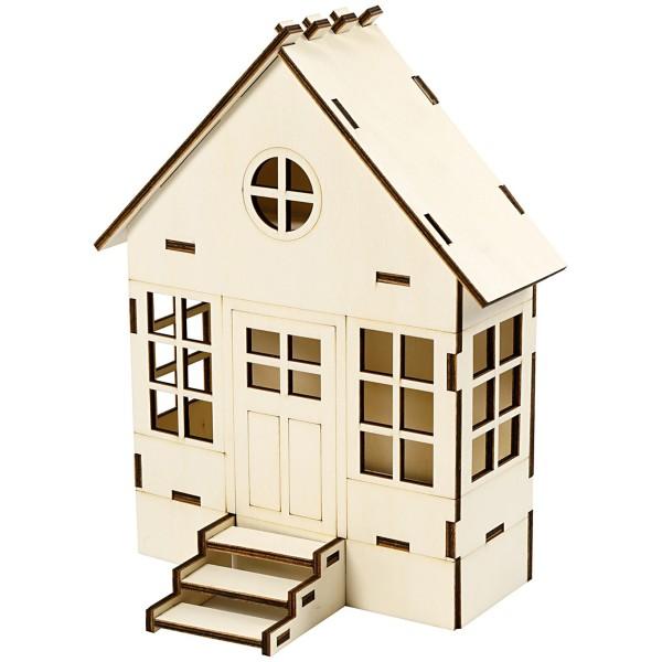 Maison en bois à assembler - 24 x 19 x 6,5 cm - Photo n°1