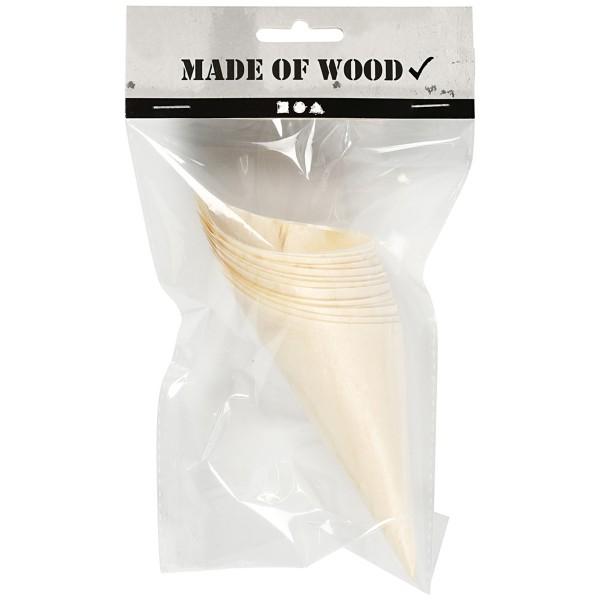 Cornet en bois pour contact alimentaire - Petit modèle - 12,5 x 5 cm - 12 pcs - Photo n°3