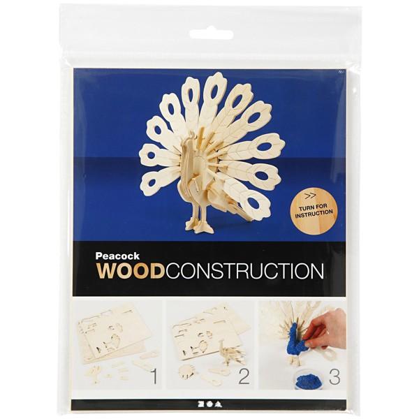 Puzzle 3D en bois à monter - Paon - 10 x 20,5 x 17,5 cm - Photo n°2