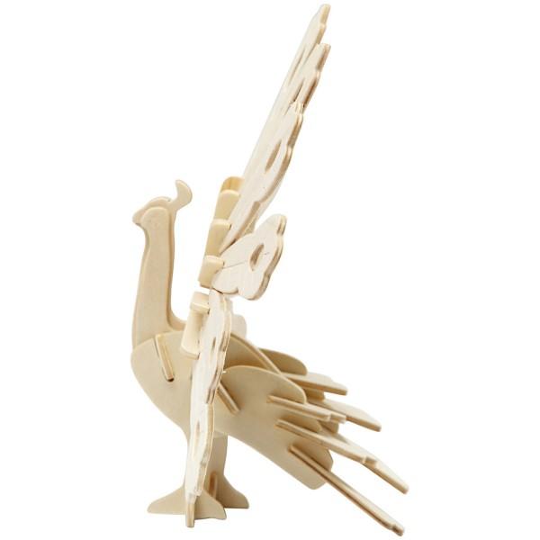 Puzzle 3D en bois à monter - Paon - 10 x 20,5 x 17,5 cm - Photo n°3
