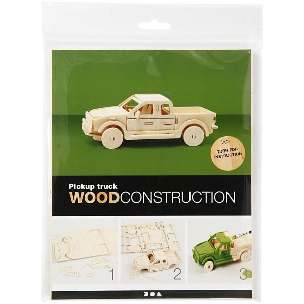 Puzzle 3D en bois à monter - Camion Pick-up - 19,5 x 8 x 12 cm - Photo n°2