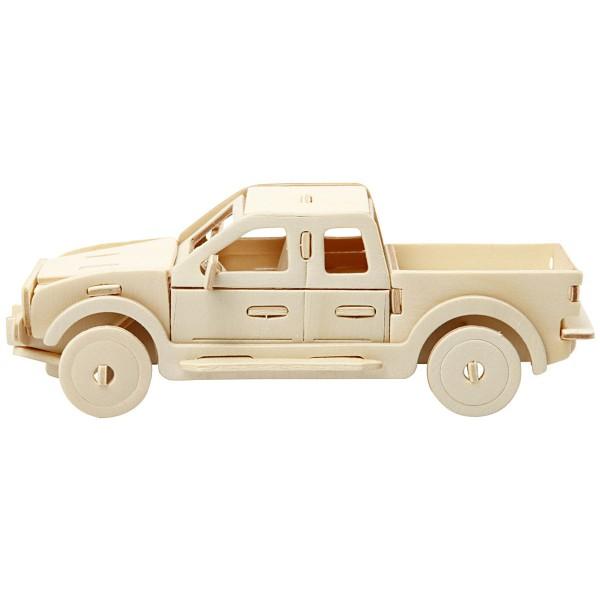 Puzzle 3D en bois à monter - Camion Pick-up - 19,5 x 8 x 12 cm - Photo n°3