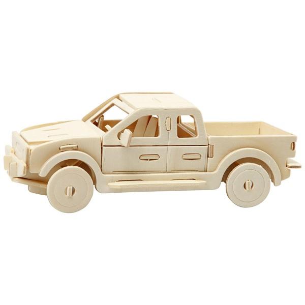 Puzzle 3D en bois à monter - Camion Pick-up - 19,5 x 8 x 12 cm - Photo n°1
