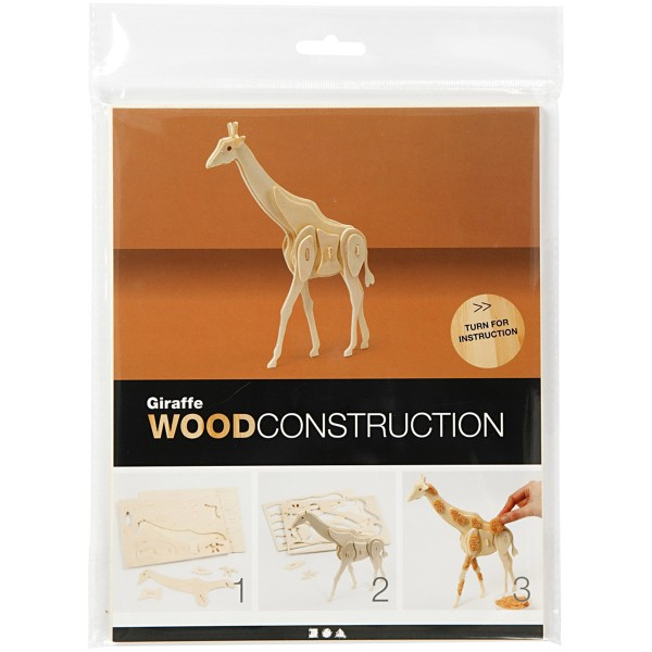 Puzzle 3D en bois à monter - Girafe - 20 x 4,2 x 25 cm - Photo n°2