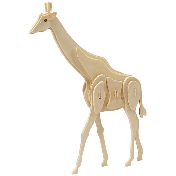 Puzzle 3D en bois à monter - Girafe - 20 x 4,2 x 25 cm - Photo n°1