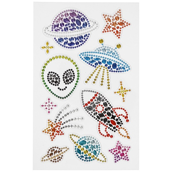 Stickers Strass - Espace - 12 pcs - Photo n°2