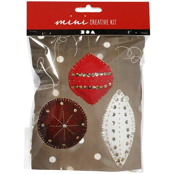 Mini Kit créatif de Noël - Boules de Noël en feutrine - De 9,5 à 15 cm- 3 pcs - Photo n°1