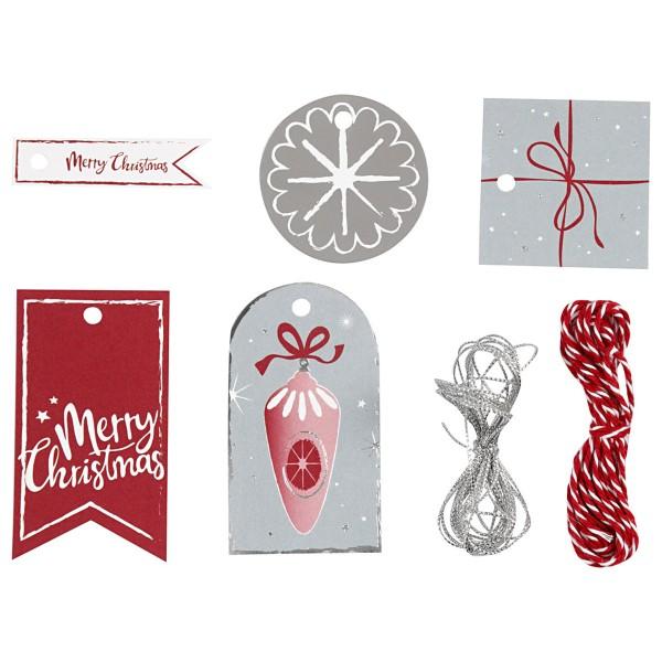 Set étiquettes cadeaux - Noël Rouge et argenté - 25 pcs - Photo n°1
