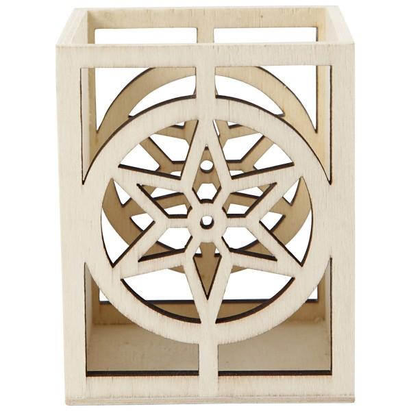 Pot en bois à décorer - 10 x 8 x 8 cm - Etoile - Photo n°2
