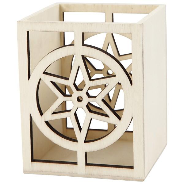 Pot en bois à décorer - 10 x 8 x 8 cm - Etoile - Photo n°3