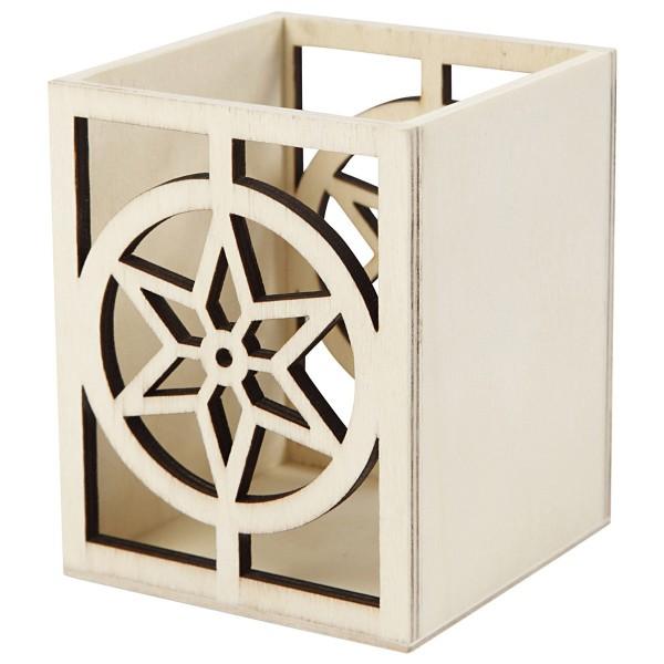 Pot en bois à décorer - 10 x 8 x 8 cm - Etoile - Photo n°1
