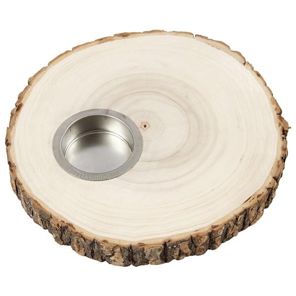 Bougeoir rondelle de bois - de 14 à 16 cm de diamètre environ - Photo n°3