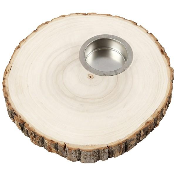 Bougeoir rondelle de bois - de 14 à 16 cm de diamètre environ - Photo n°4