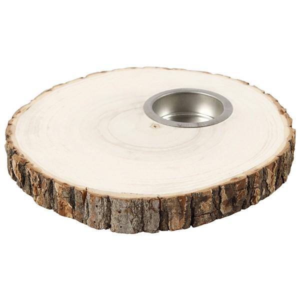 Bougeoir rondelle de bois - de 14 à 16 cm de diamètre environ - Photo n°1