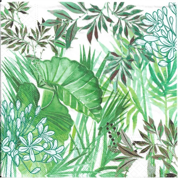 4 Serviettes en papier Plantes Tropicales Format Lunch Decoupage Decopatch 75375 Nouveau - Photo n°1
