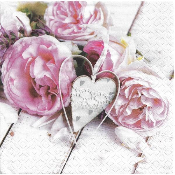 4 Serviettes en papier Pivoines & Coeur Lunch Decoupage Decopatch Ti-Flair 378531 - Photo n°2