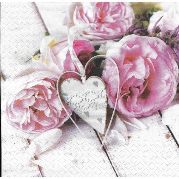 4 Serviettes en papier Pivoines & Coeur Lunch Decoupage Decopatch Ti-Flair 378531 - Photo n°1