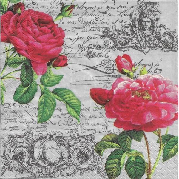 4 Serviettes en papier Deux Roses Lunch Decoupage Decopatch Ti-Flair 340171 - Photo n°1