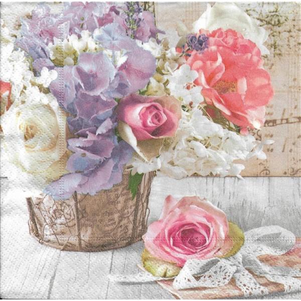 4 Serviettes en papier Bouquet de Fleurs Romantique Format Lunch Decoupage 200538 Paper+Design - Photo n°1