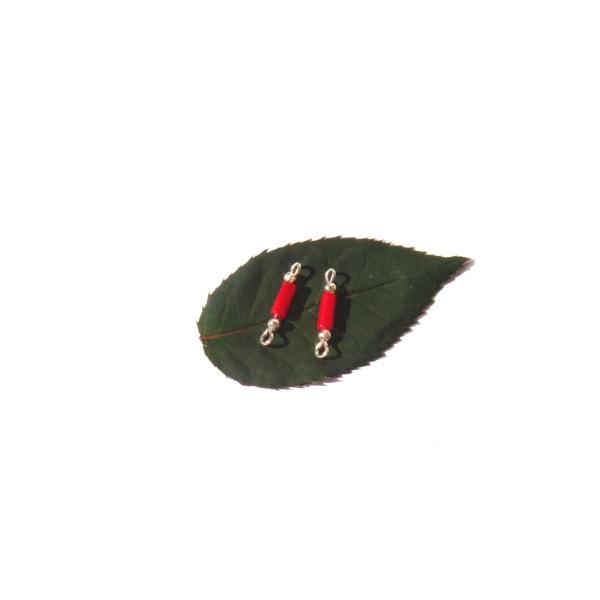 Corail Bambou : paire de MICRO connecteurs 1,8 cm de longueur x 3 mm de diamètre - Photo n°1