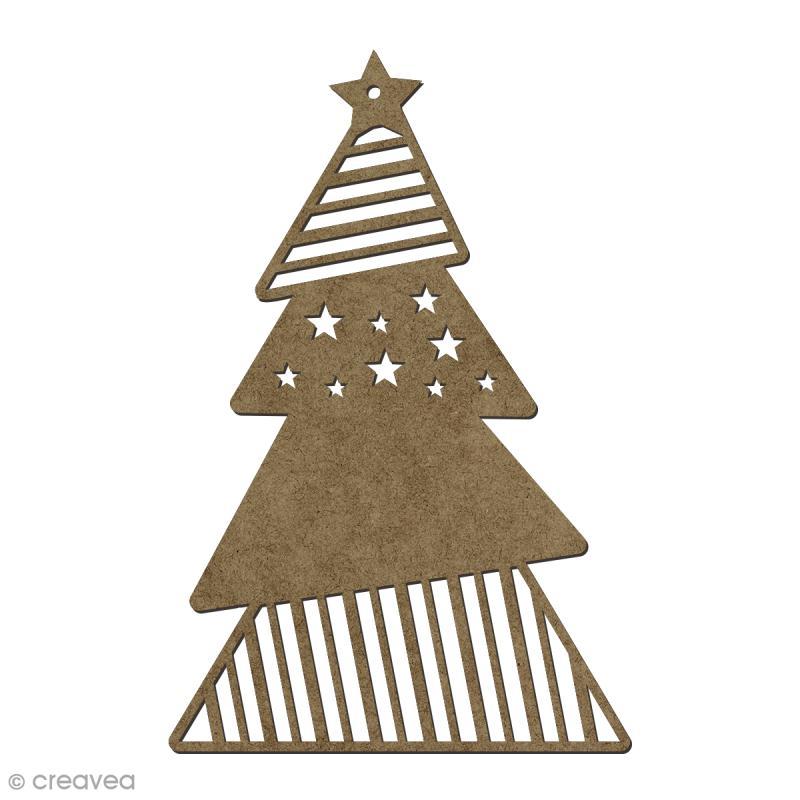 Forme en bois Noël Sapin à suspendre - 15 x 10 cm - Photo n°1