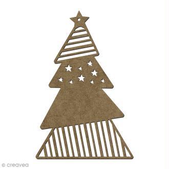 Forme en bois Noël Sapin à suspendre - 15 x 10 cm