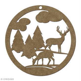 Forme en bois Noël Boule ajourée cerf et sapin - 6 cm