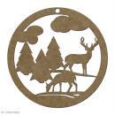 Forme en bois Noël Boule ajourée cerf et sapin - 6 cm - Photo n°1