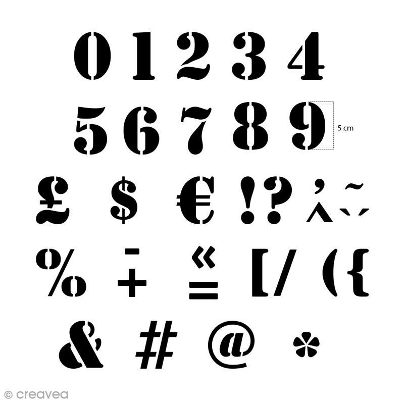 pochoirs home deco chiffres et ponctuation 5 cm 24 pcs pochoir alphabet creavea. Black Bedroom Furniture Sets. Home Design Ideas