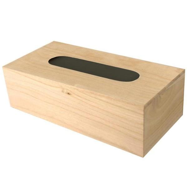 Boite à mouchoirs en bois avec fond - Photo n°1