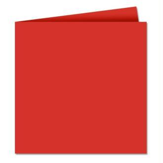 Papier Pollen carte double 160 x 160 Rouge corail x 25
