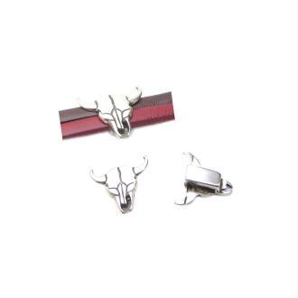 Passant cuir 10 mm tête taureau métal zamak argenté ref 1- fabrication Europe - 1 pièce
