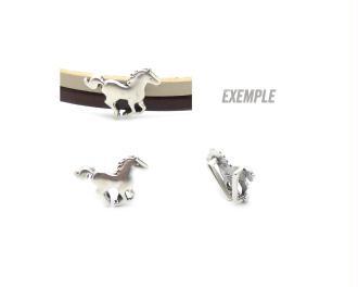 Passant cuir 10 mm cheval métal zamak argenté - fabrication Europe - 1 pièce