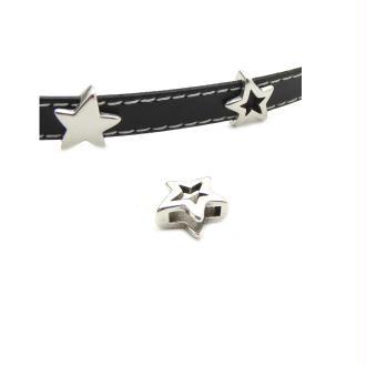 Passant cuir 10 mm étoile métal zamak argenté - fabrication Europe - 1 pièce