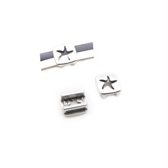 Passant cuir 10 mm étoile de mer métal zamak argenté - fabrication Europe - 1 pièce