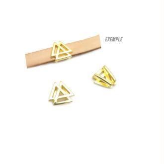 Passant cuir 10 mm triangle ajouré métal zamak doré  - fabrication Europe - 1 pièce