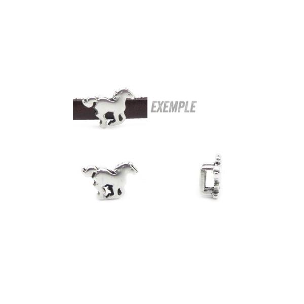 Passant cuir 5 mm cheval métal zamak argenté  - fabrication Europe- 1 pièce - Photo n°1