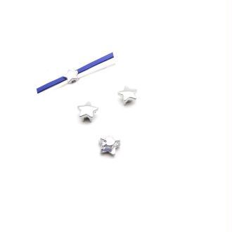 Passant cuir 5 mm étoile métal argenté - 2 pièces