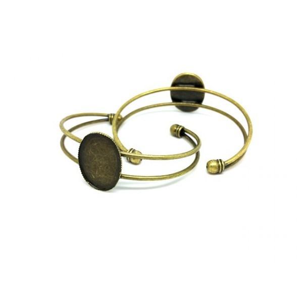 bracelet bronze pour support cabochon 25x18 mm filigranne