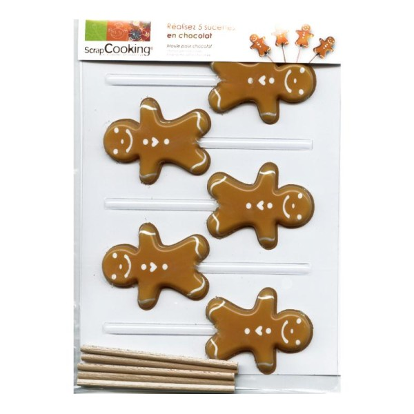 Moule sucettes Petit homme d'épices en chocolat - Photo n°1