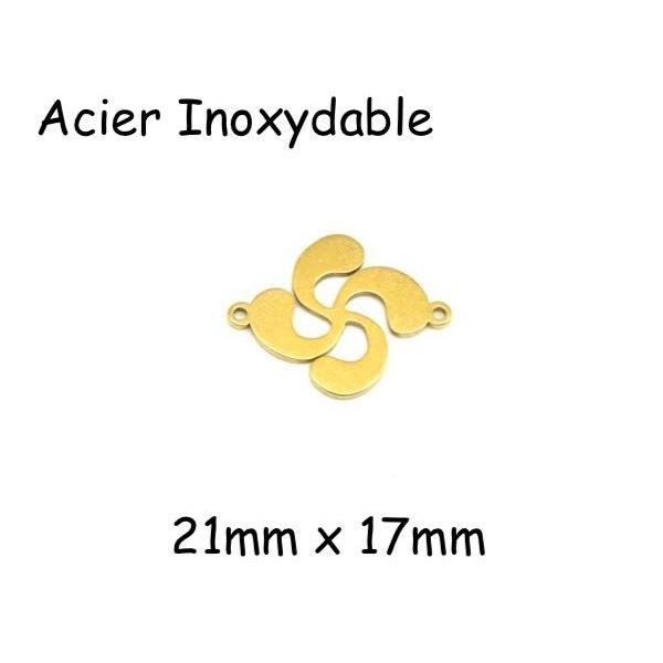 2 Perles Connecteur Croix Basque Doré En Acier Inoxydable - Photo n°1