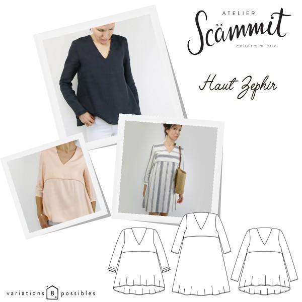 Patron couture Atelier Scammit - Blouse et Robe Zephir - Taille 34 à 48 - Photo n°1