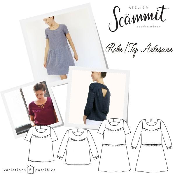 Patron couture Atelier Scammit - Blouse et Robe Artesane - Taille 34 à 48 - Photo n°1